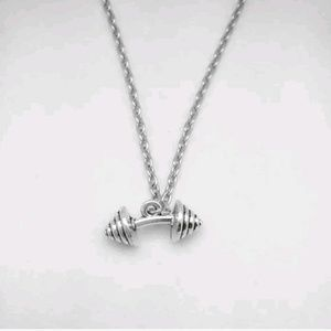 Dumbbell barbell necklace